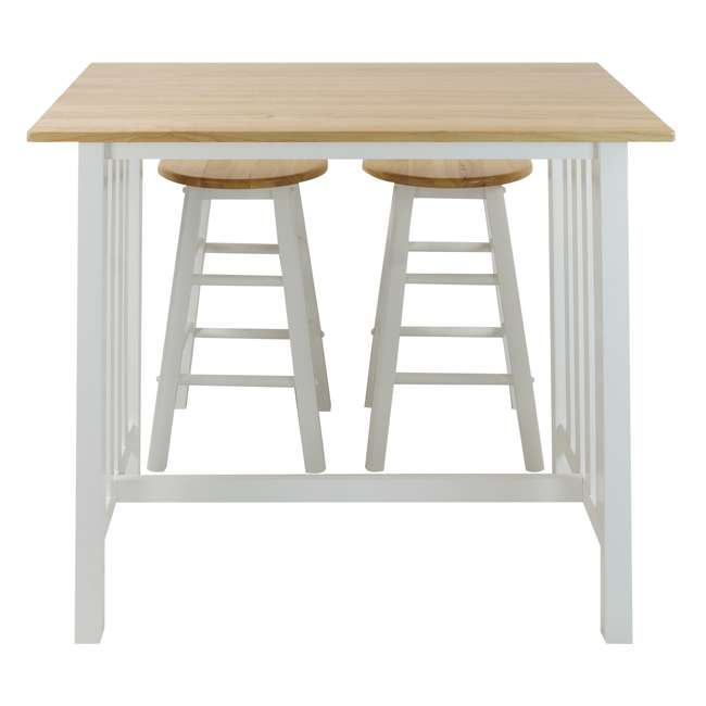 124-91 Casual Home 3 Piece Solid Wood Pub Style Breakfast Lunch Cart Island Set, White  3