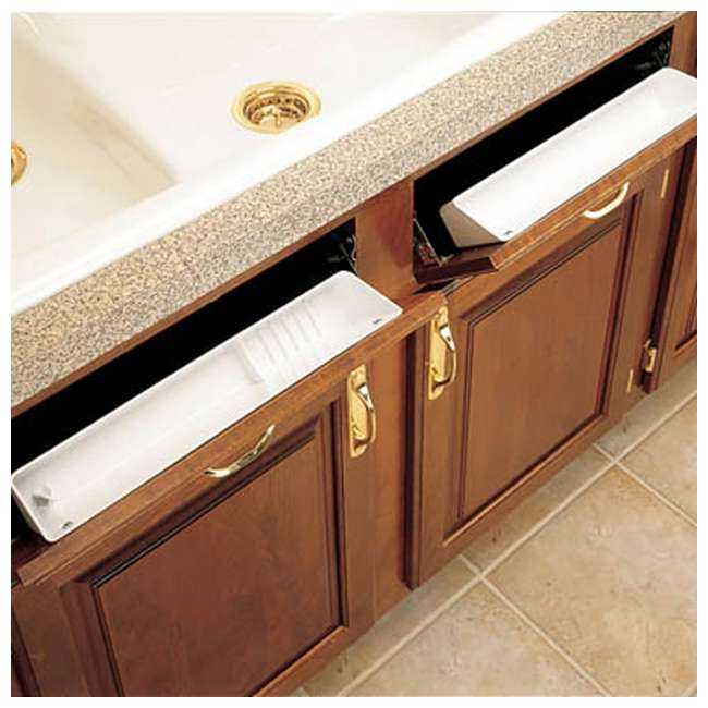 6572-14-11-52 Rev A Shelf 14 Inch Polymer Kitchen Sink Front Tip Out Trays and Hinges, White 3