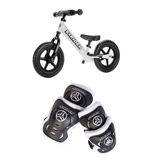 ST-S4WT + APADSET-SM Strider 12 Sport Balance Bike + Protection and Safety Elbow and Knee Pad Set