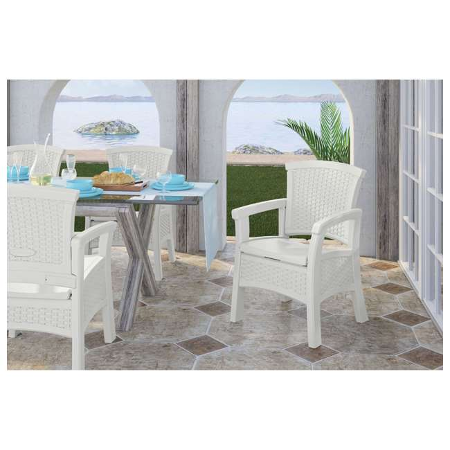 BMDC1400WD Suncast Elements Durable Outdoor Patio Dining Chair with Storage, White (2 Pack) 4
