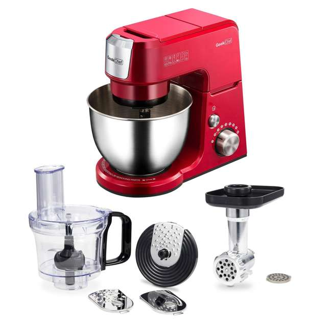 GM25R + GMMN + GMFP Geek Chef 2.6 Quart 7 Speed Stand Mixer with Mincer & Food Processor Attachments