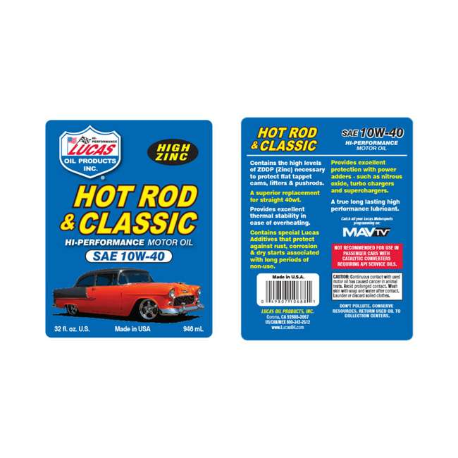 10683 Lucas Oil Hot Rod & Classic Car SAE 10W-40 HP High Performance Motor Oil, 5 Qt. 2