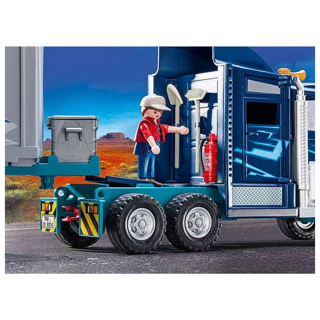 9314 Playmobil 9314 Big Rig w/ Action Figure and Semi Truck & Trailer Play Set, Blue 3