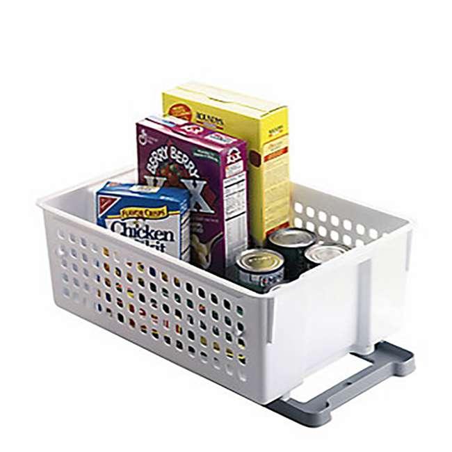 FG5577RDWHT Rubbermaid Slide 'n Stack Sliding Kitchen Storage Basket Shelf Container, White