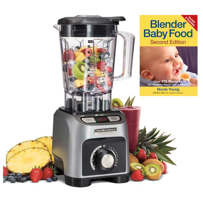 58850 + BABYFOODBLEND Hamilton Beach 4 Program 1800W 64 Oz Kitchen Blender & 175 Baby Food Recipe Book