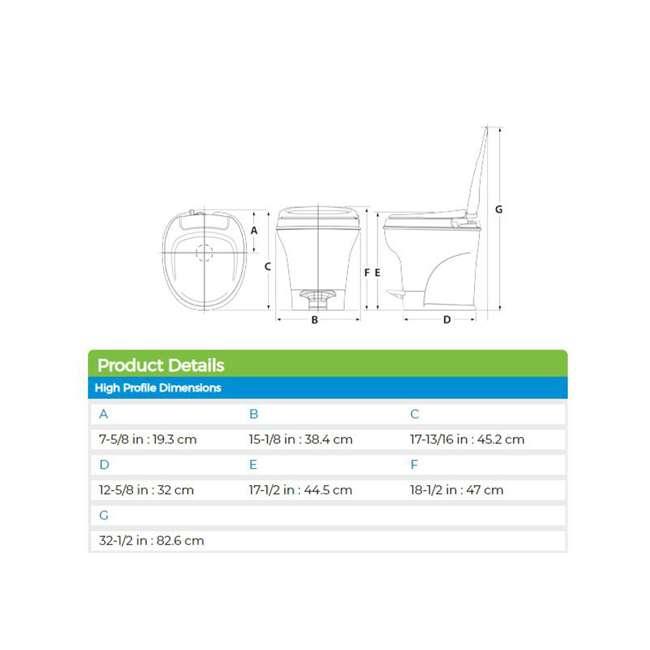 31672 Thetford 31672 Aqua Magic V Pedal Flush RV Travel High Profile Toilet, Parchment 2