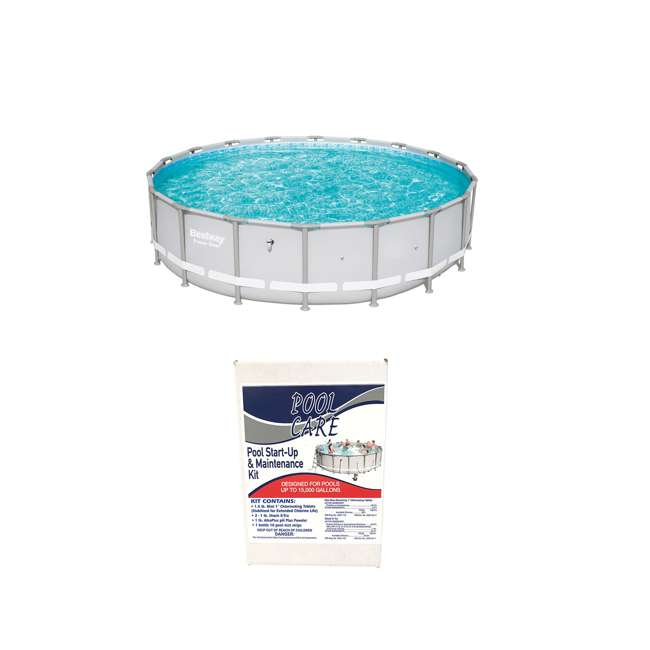 15441-BW + QLC-42005 Bestway Steel Frame Above Ground Pool + Qualco Pool Chemical Maintenance Kit