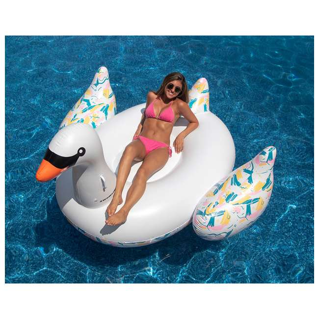 SL-90719M + 90701 Inflatable Swan Swimming Pool Float Bundled w/ Golden Swan Inflatable Pool Float 2