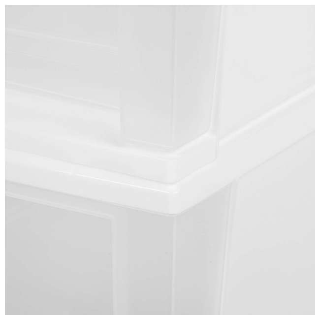 129957-2PK IRIS Medium 32 Qt Stackable Pull Out Clear Front Plastic Drawer, White (2 Pack) 2