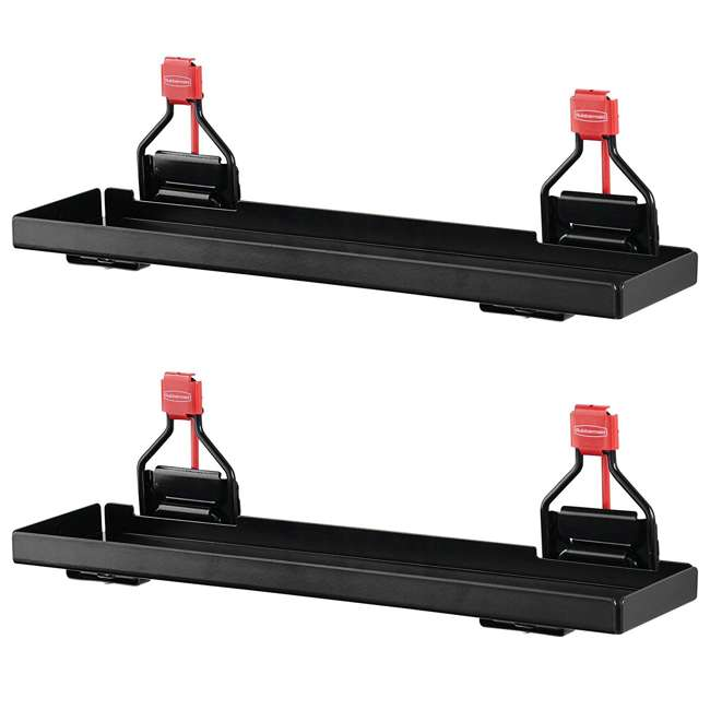 2024654 Rubbermaid Outdoor Metal Backyard Storage Shed Accessories Shelf, Black (2 Pack)