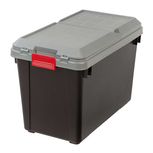 585735-4PK IRIS USA 102 Qt. Store It All Heavy Duty Storage Container Tote, Black (4 Pack)