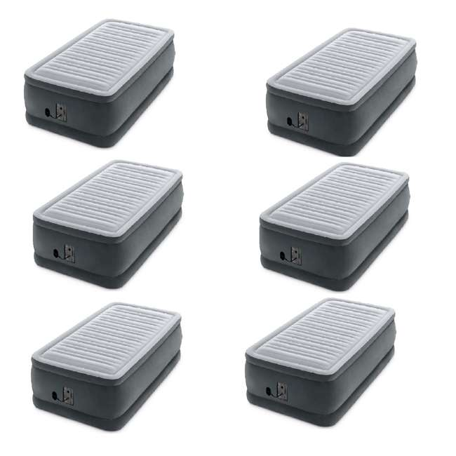 6 x 64411EP Intex Dura Beam Plus Series Elevated Airbed w/ Built in Pump, Twin (6 Pack)