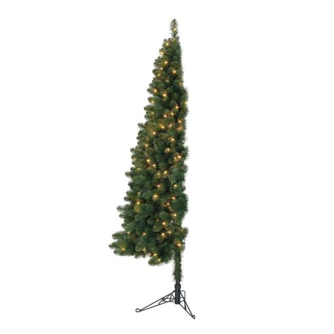 TG5000GHDL00-U-B Home Heritage 5' Flat Half Christmas Tree for Wall w/ White LED Lights (Used)