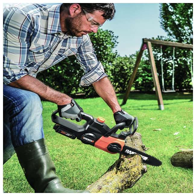 """WG323-U-C Worx 20V 10"""" Auto Tension Electric Pole Chainsaw, Battery & Charger (For Parts) 8"""