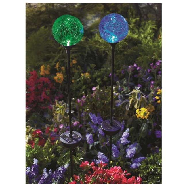 MR-91251 Moonrays 3 LED Solar Path Lights Glass Ball Design With Color Changing Feature 4