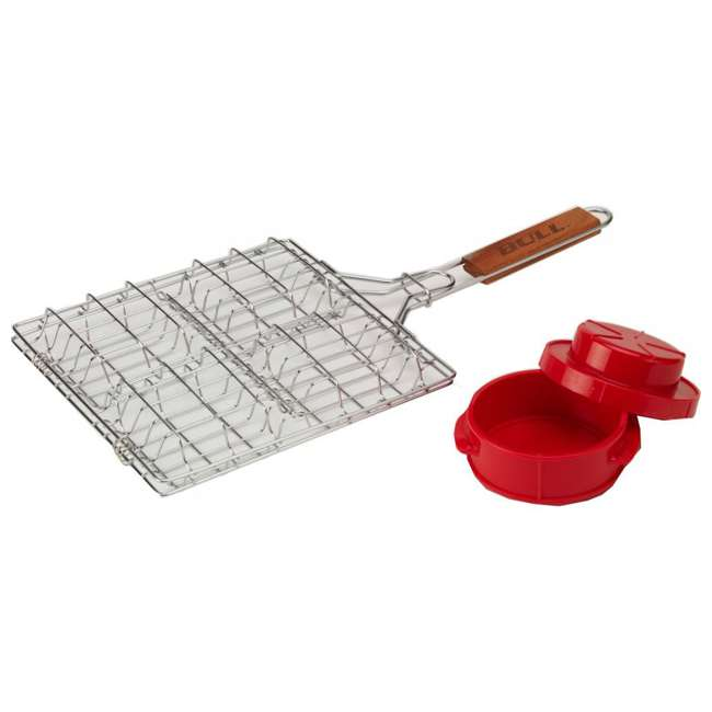 BOPA-24135 + BOPA-24226 Bull Steak Station Meat Thermometer & Stuff-a-Burger Basket/Press 2