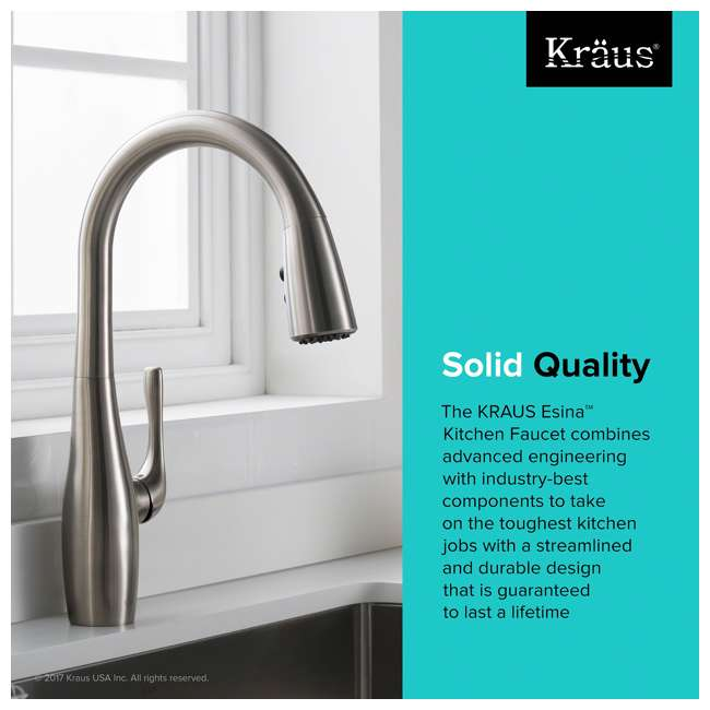 KPF-1670SFS Kraus Esina Single Handle Stainless Steel Faucet, Silver (2 Pack) 8