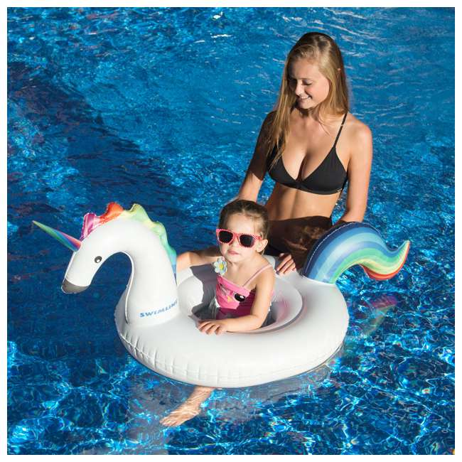 SL-98406 Inflatable Unicorn Baby Floating Lounger Raft Float for Swimming Pool (2 Pack) 4