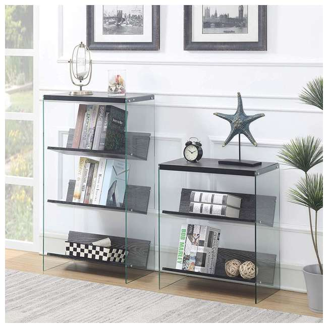 R4-0335 Convenience Concepts SoHo 4-Tier Bookcase, Weathered Gray/Glass 5