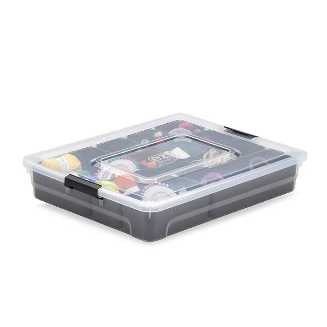 12 x FBA32234 Ezy Storage 4.8 Liter Sort It Storage Box w/ 13 Cup Tray , Clear/Gray (12 Pack) 2