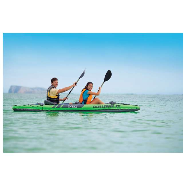 68306EP-U-B Intex Challenger K2 Two Person Inflatable Kayak Kit w/ Oars Pump - (Used) 4