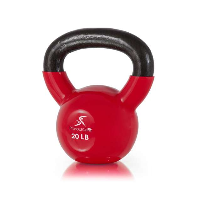 ps-1963-vck-20 Prosource Fit 20 Pound Vinyl Coated Easy Grip Solid Cast Iron Kettlebell, Red 1