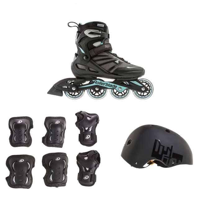 7958700821-8 + 06320200001-M + 067H0310800-L Rollerblade USA Women's Size 8 Rollerblades + Pads + Helmet