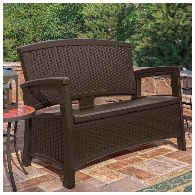 BMWB5000 + GHW1732 Suncast Loveseat with Storage Area & Trash Hideaway 33 Gallon Capacity Container 5