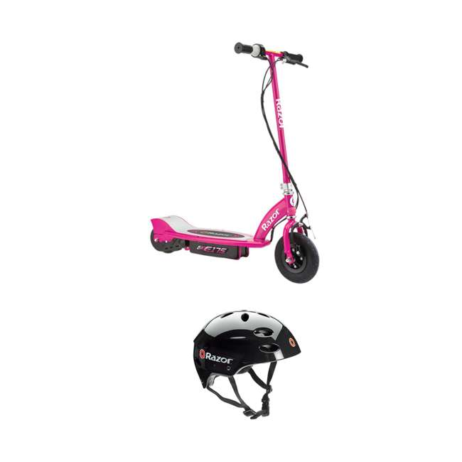 13111269 Razor E175 Rechargeable Electric Powered Kids Scooter & V17 Helmet, Pink & Black