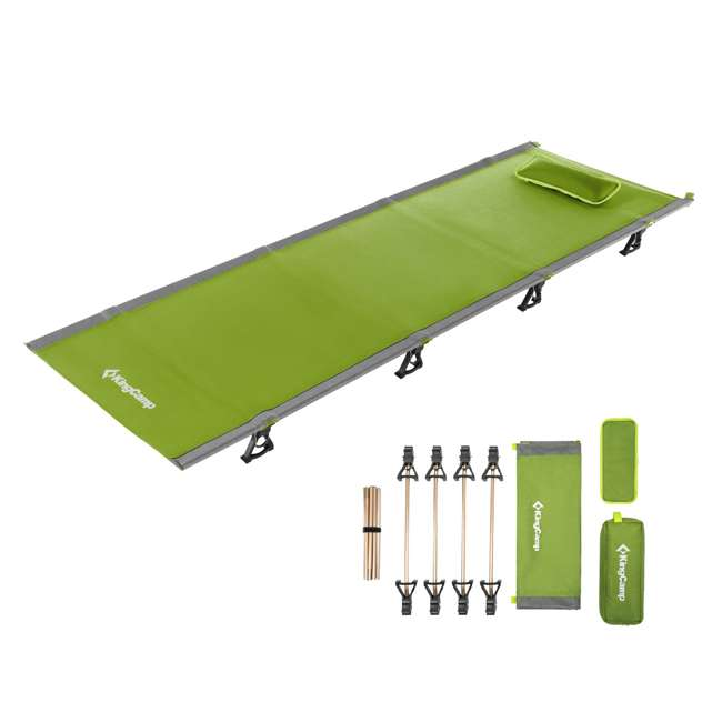 KC398660040000 KingCamp Ultralight Compact Folding Camping Tent Cot Bed, 4.9 Pounds, Green 1
