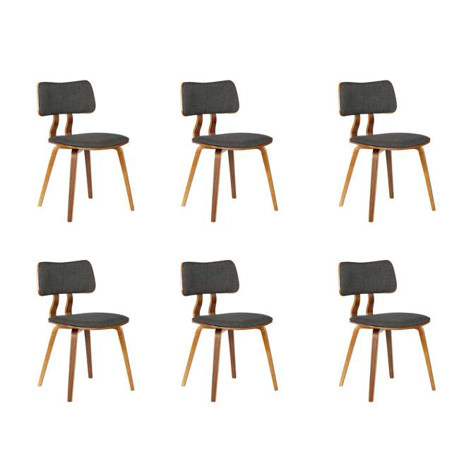 6 x LCJASIWACH Armen Living Jaguar Mid-Century Dining Chair in Walnut and Charcoal (6 Pack)