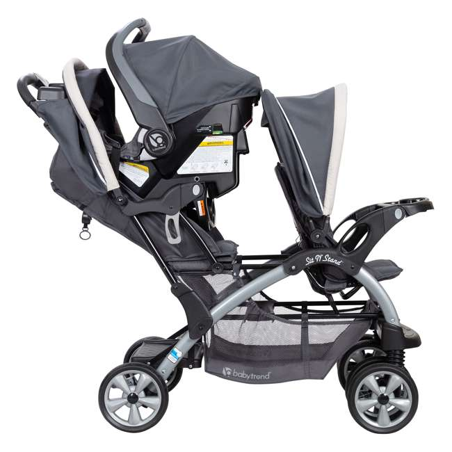 SS76C81A Baby Trend Sit N' Stand Easy Fold 5 Point Harness Double Stroller, Magnolia 3