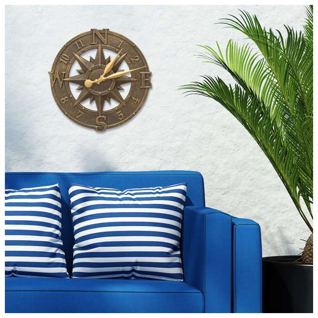 1173 Whitehall 1173 Indoor Outdoor Aluminum Alloy Nautical Compass Clock, Bronze 3