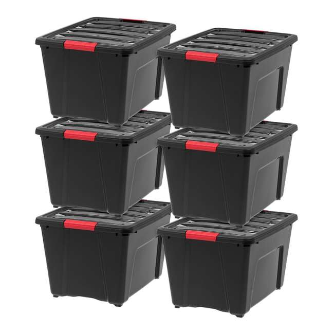 588339 IRIS 53 Qt Stack & Pull Storage Lidded Container Box Bin System, Black (6 Count)