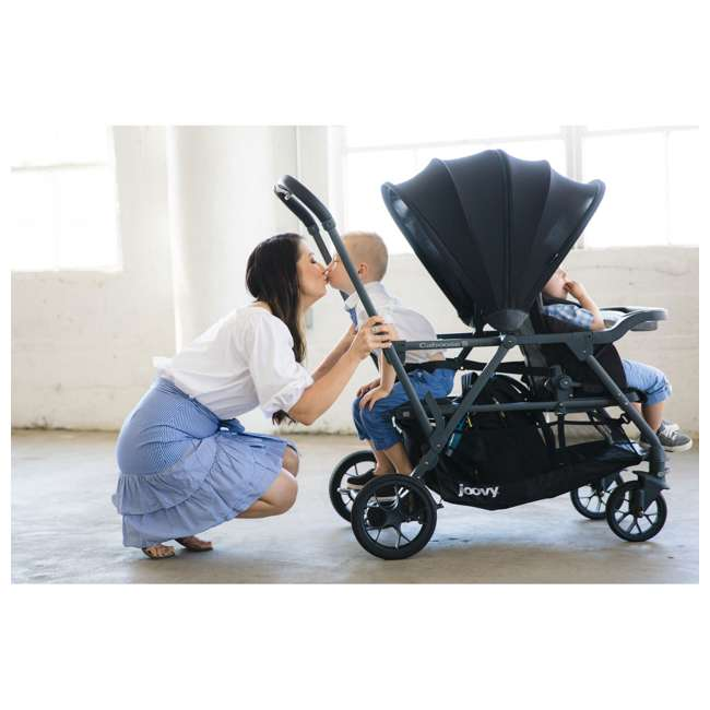 8207 + 9107 Joovy Caboose S Stroller with Canopy, Black Melange + Caboose Add On Rear Seat 2