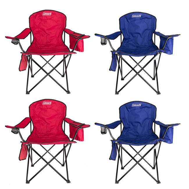 2000032009 + 2 x 2000032008 Coleman Folding Chair w/ Cooler & Cup Holder, Red & Blue (4 Pack)
