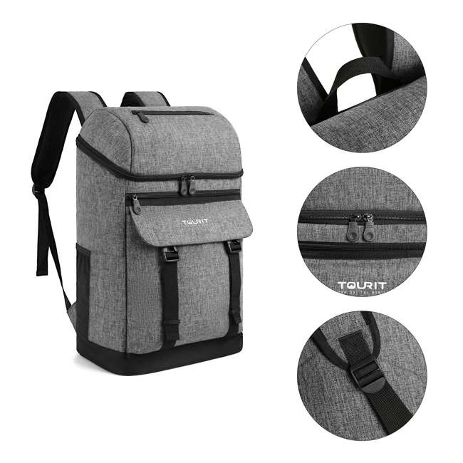 TR0260013A008 TOURIT TR0260008B001 Terns Insulated Leak-proof 21 Can Cooler Backpack, Gray 4