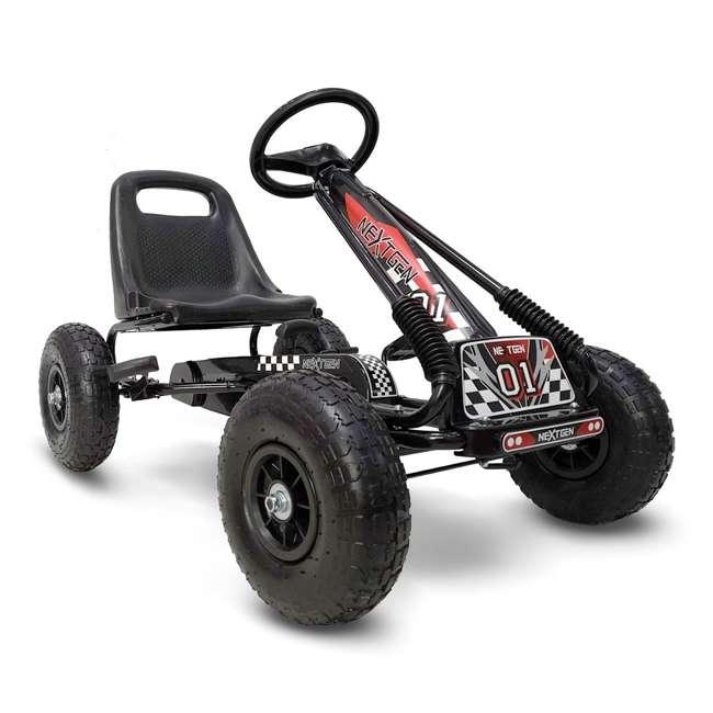 1 PGCBLK NextGen Childrens Kids 4 Wheel Ride On Car Pedal Go Cart & Safety Helmet, Black