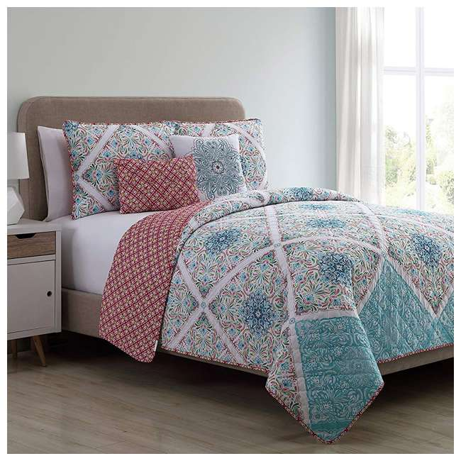 WIN-5QT-KING-IN-MU VCNY Home Windsor Floral Medallion Pink 5 Piece Reversible Bed Quilt Set, King 3