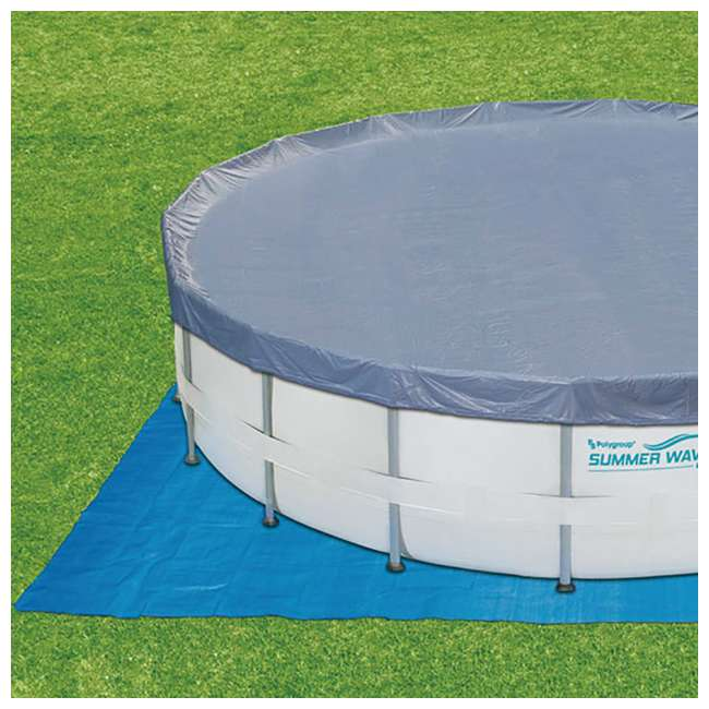 P40016481167 + QLC-42003 Summer Waves Elite 16 Ft Metal Frame Above Ground Pool w/ Pump & Cleaning Kit 5