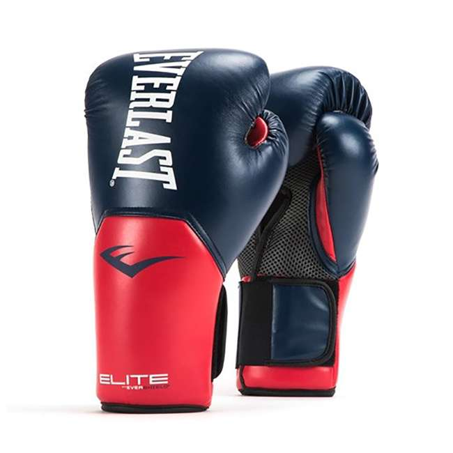 P00001204 + 4455-3 Everlast 16 Ounce Boxing Gloves, Navy/Red & Hand Wraps (3 Pack) 1