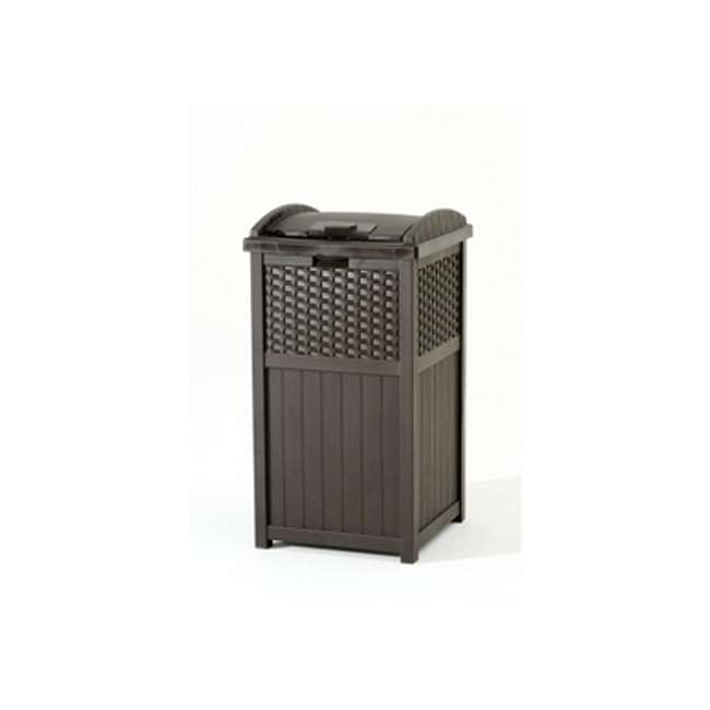 8 x GHW1732 Suncast Trash Hideaway 33 Gallon Resin Wicker Outdoor Garbage Container (8 Pack) 3