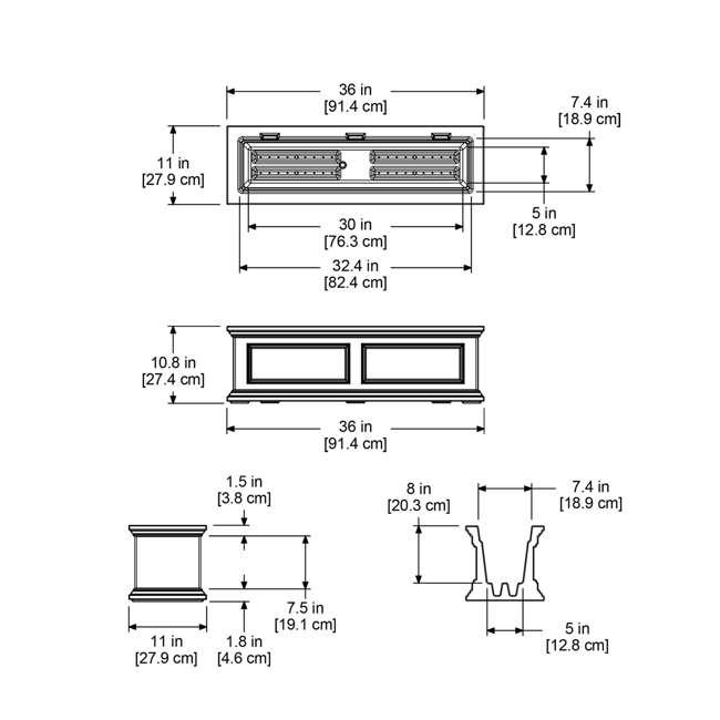 MO-5822-B Mayne Fairfield 3 Foot 6.5 Gallon Plastic Double Wall Window Box Planter, Black 4