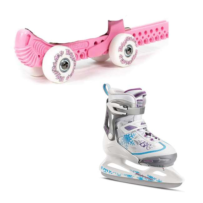 10934-P + 0G144500T1A-S Rollergard ROC-N-Roller Guard, Pink (2 Pack) & Bladerunner Micro Ice Girl Skates
