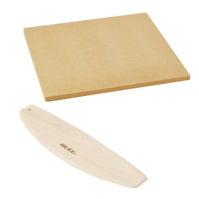 BOPA-24208 + BOPA-24221 Bull 15-Inch Pizza Stone, Brown & Rocking Wood Pizza Cutter