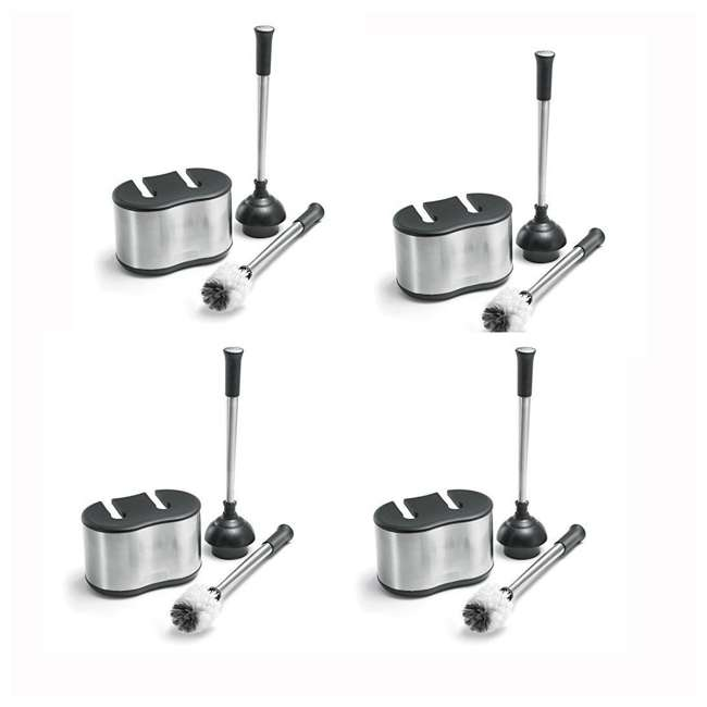 4 x BTH-6300-90 Polder Toilet Brush & Plunger Caddy, Stainless Steel & White (4 Pack)