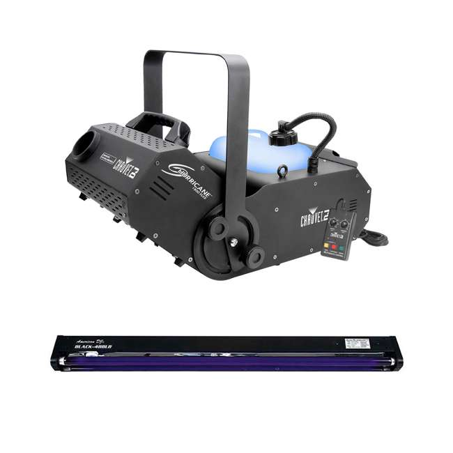 H1800FLEX + BLACK-48BLB Chauvet DJ Hurricane 1800 FLEX DMX Fog Machine + 48 Inch UV Black Light
