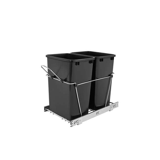 RV-18KD-18C S-U-B Rev A Shelf Double 35 Quart Pull Out Waste Bin Container, Chrome (Used) (2 Pack)