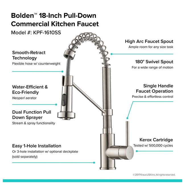 4 x KPF-1610MB Kraus Bolden 18-Inch Single Handle Faucet (4 Pack) 9