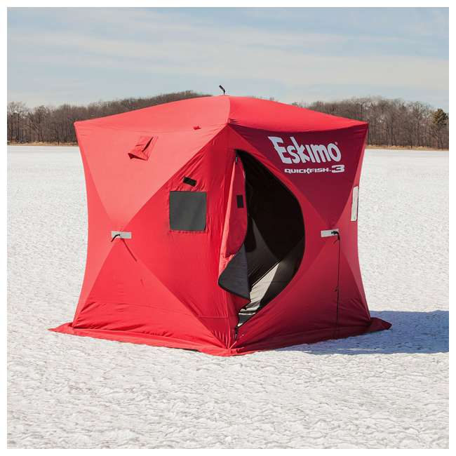 Eskimo quickfish 3 portable 3 person pop up ice fishing for Ice fishing clearance